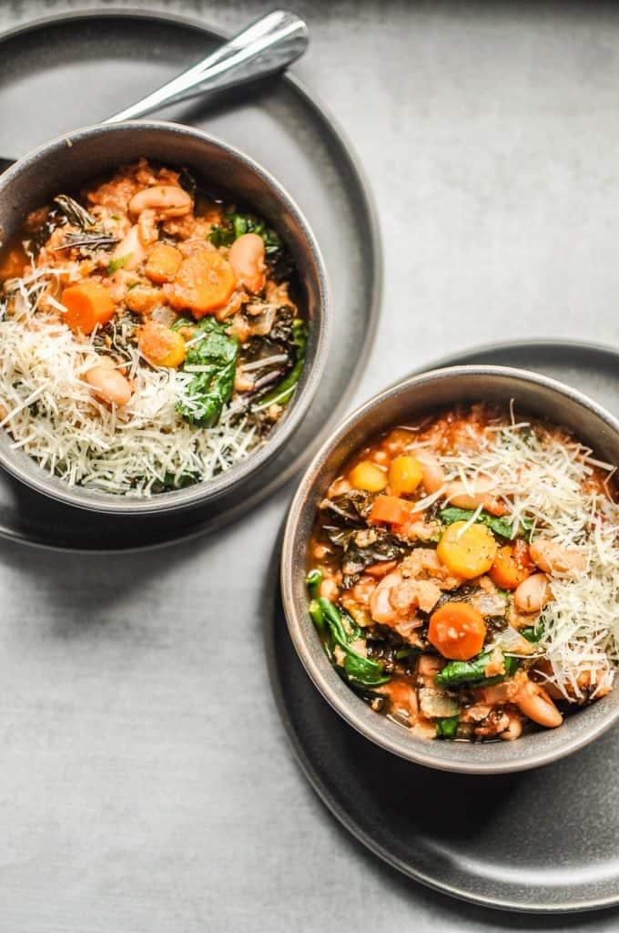 two bowls of ribollita soup