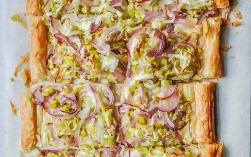 Leek and Onion Puff Pastry Tart