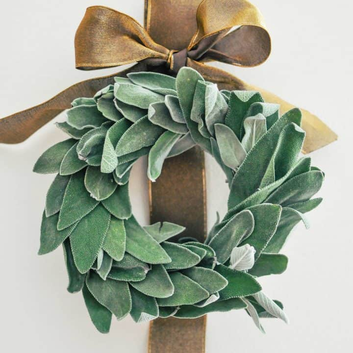 diy sage wreath with gold ribbon