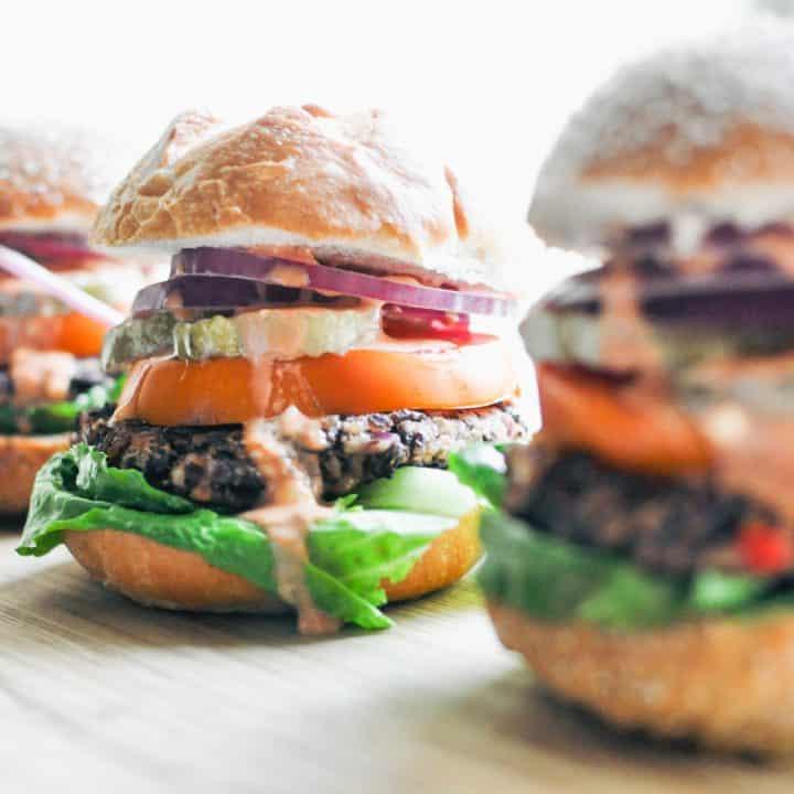 closeup of veggie black bean burger