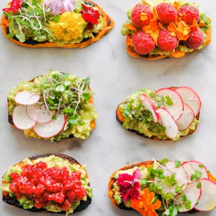 sweet potato toasts with avocado and fruit