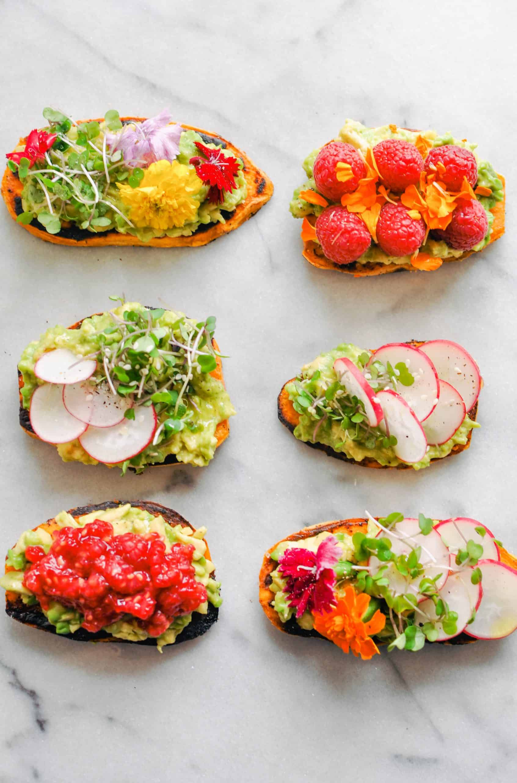 sweet potato toasts with avocado and fruit
