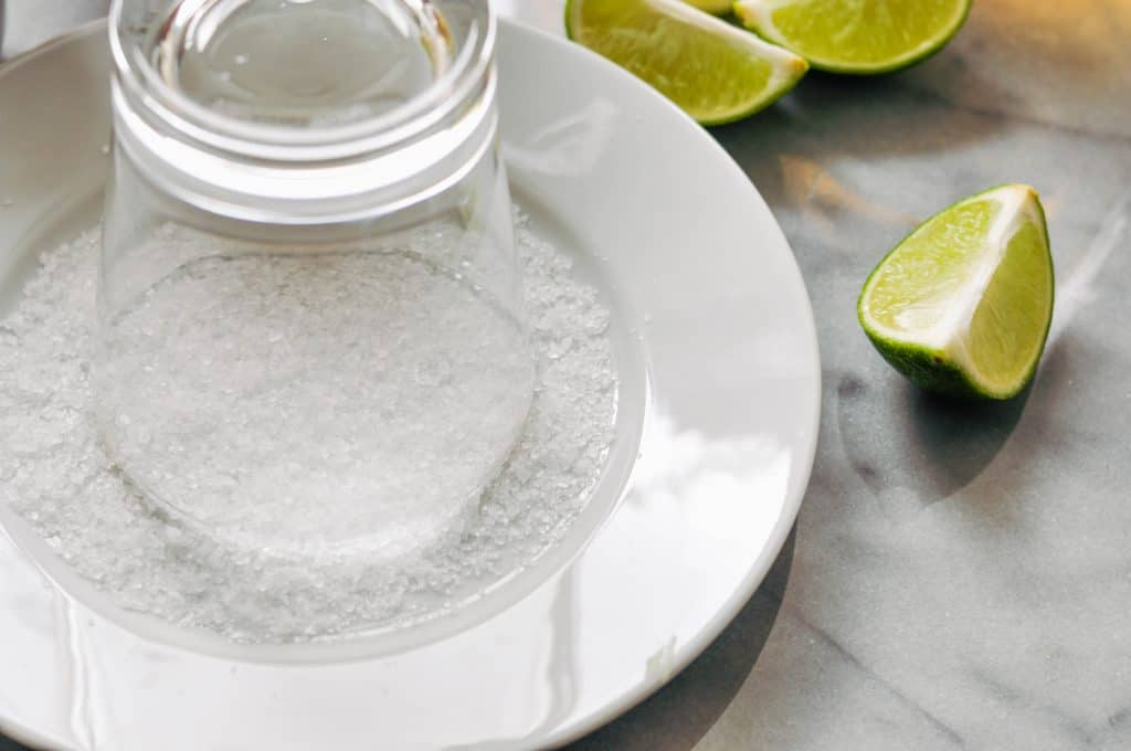 salting a glass for a margarita