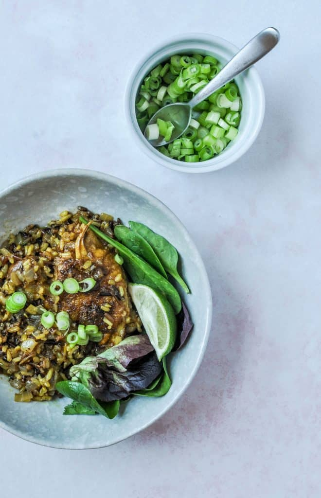 hawaij chicken and rice with spring onions