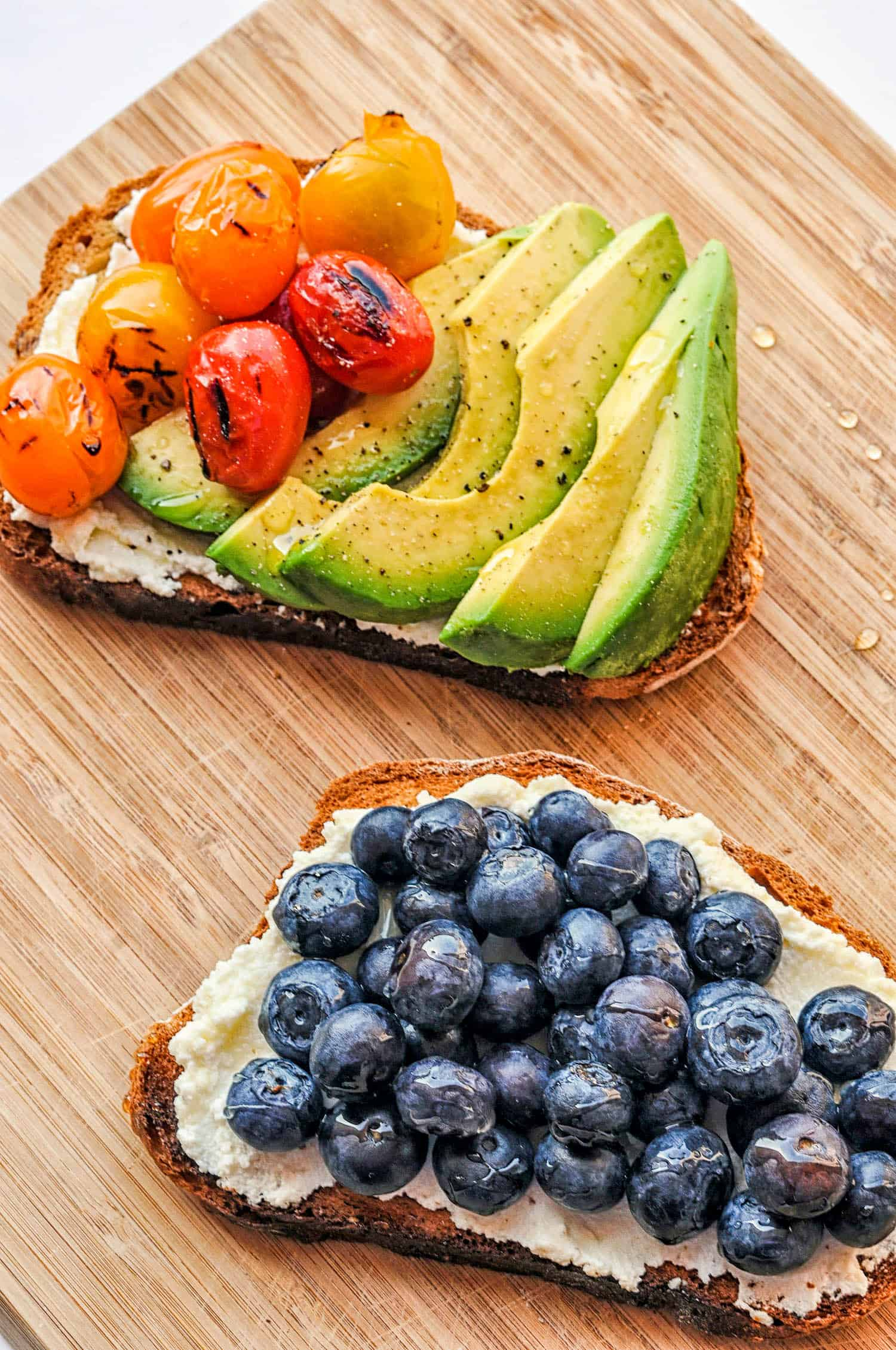 ricotta toasts on a cutting board
