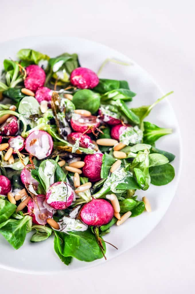 roasted radish salad with a creamy dressing