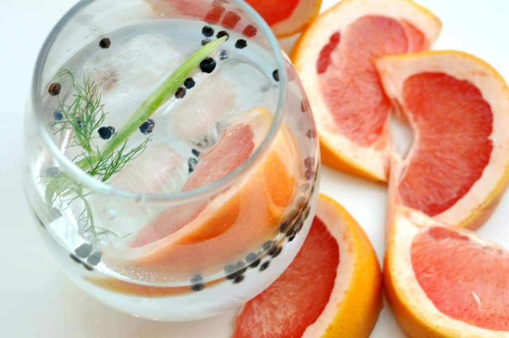 gin and tonic with fennel, grapefruit, and black pepper