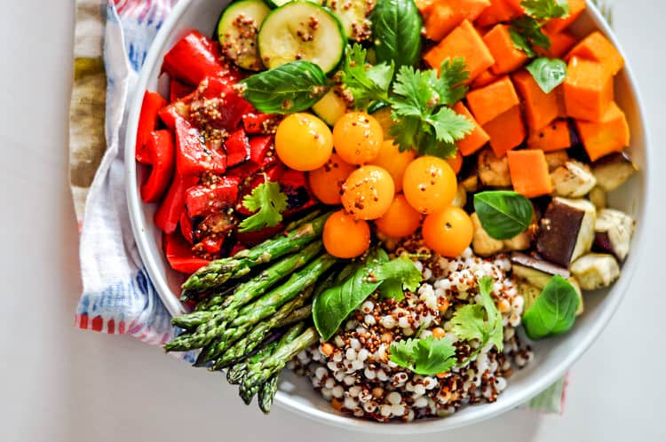 veggies and quinoa in a bowl