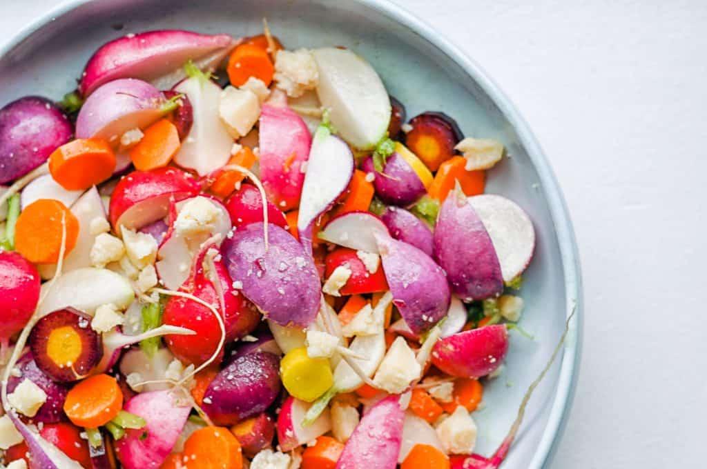 radish carrot salad closeup