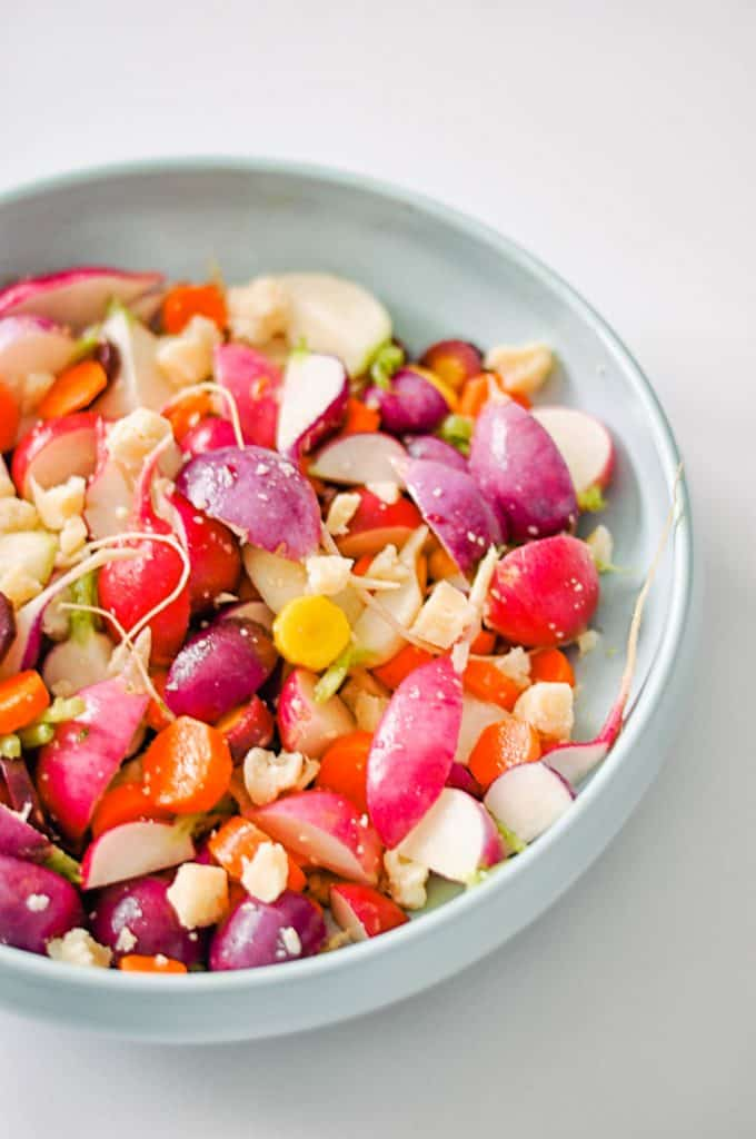 radish and carrot salad in a bowl