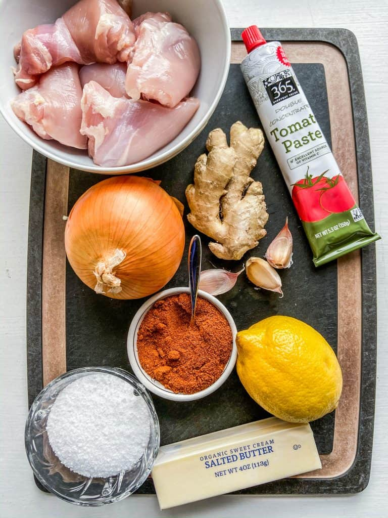 ingredients for Doro Wat on a cutting board