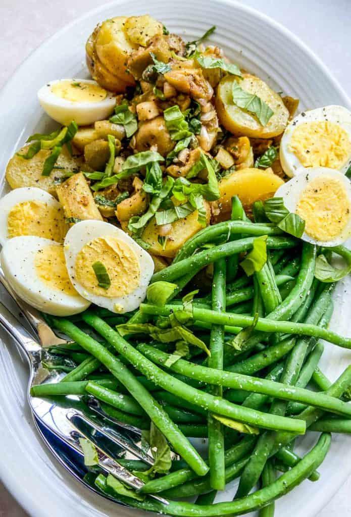 closeup of French potato salad on a platter