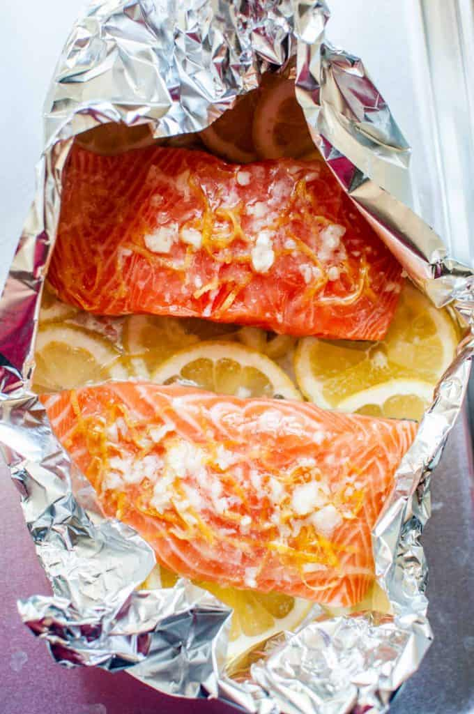 lemon salmon in a foil packet before being baked