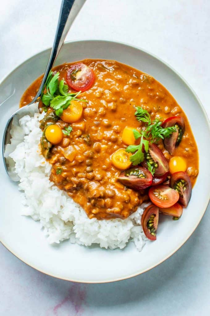 coconut lentil curry in a bowl