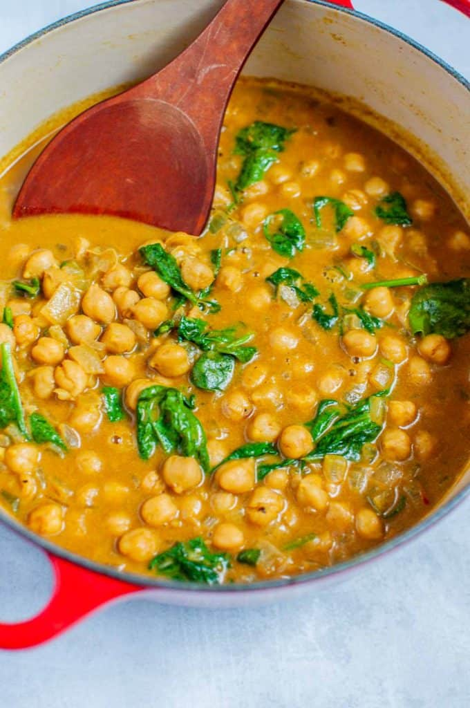 chickpea curry in a saucepan