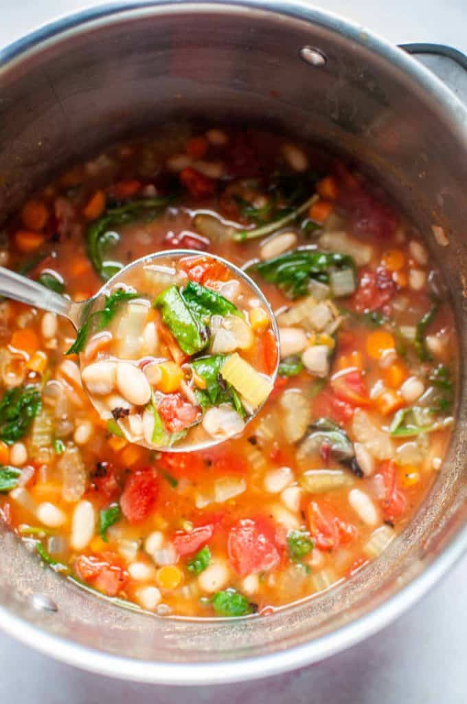 white bean soup in a large stockpot