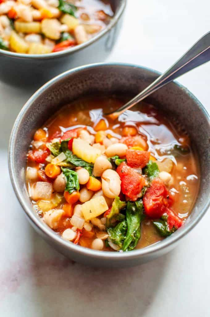 white bean soup in a bowl