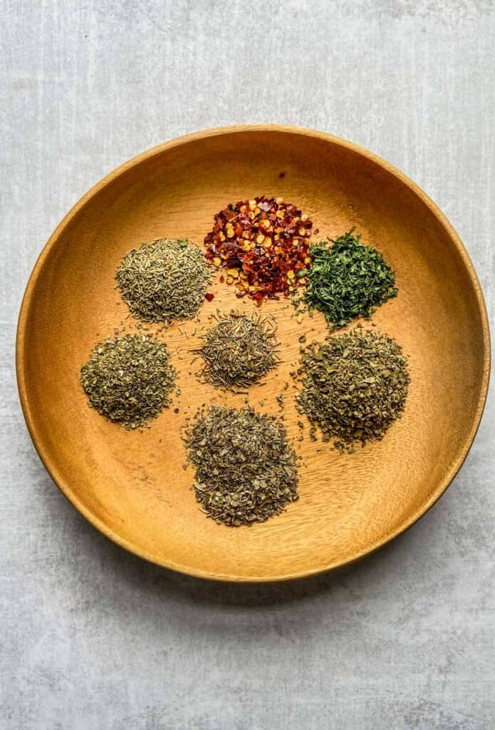 italian seasoning blend spices on a plate