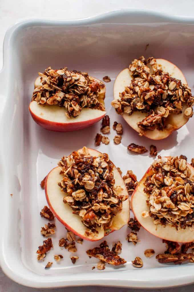 apples with oatmeal in a baking dish