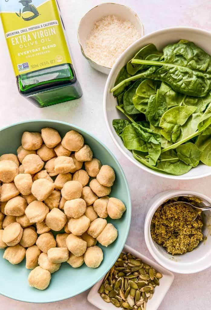 cauliflower gnocchi with pesto ingredients