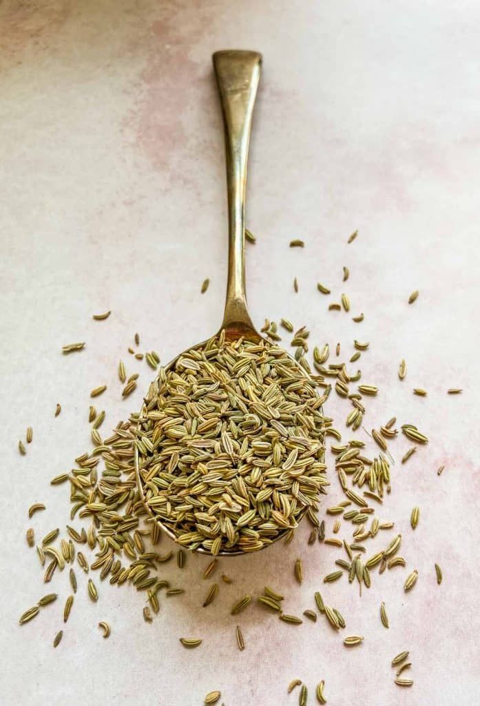 fennel seeds on a silver spoon