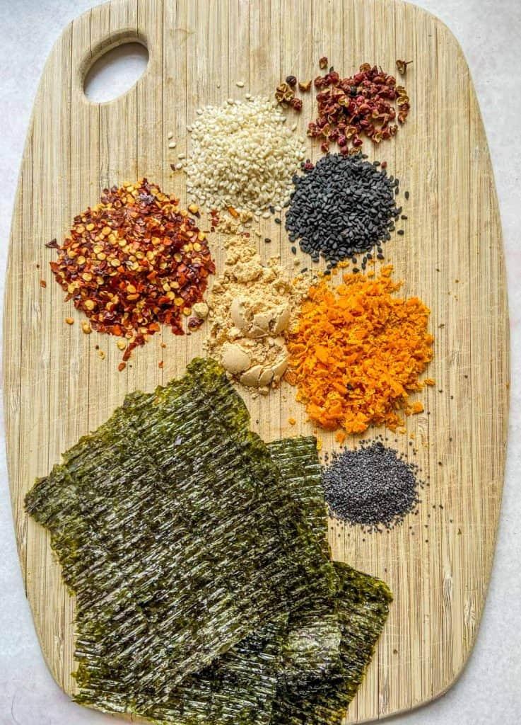 shichimi togarashi ingredients on cutting board