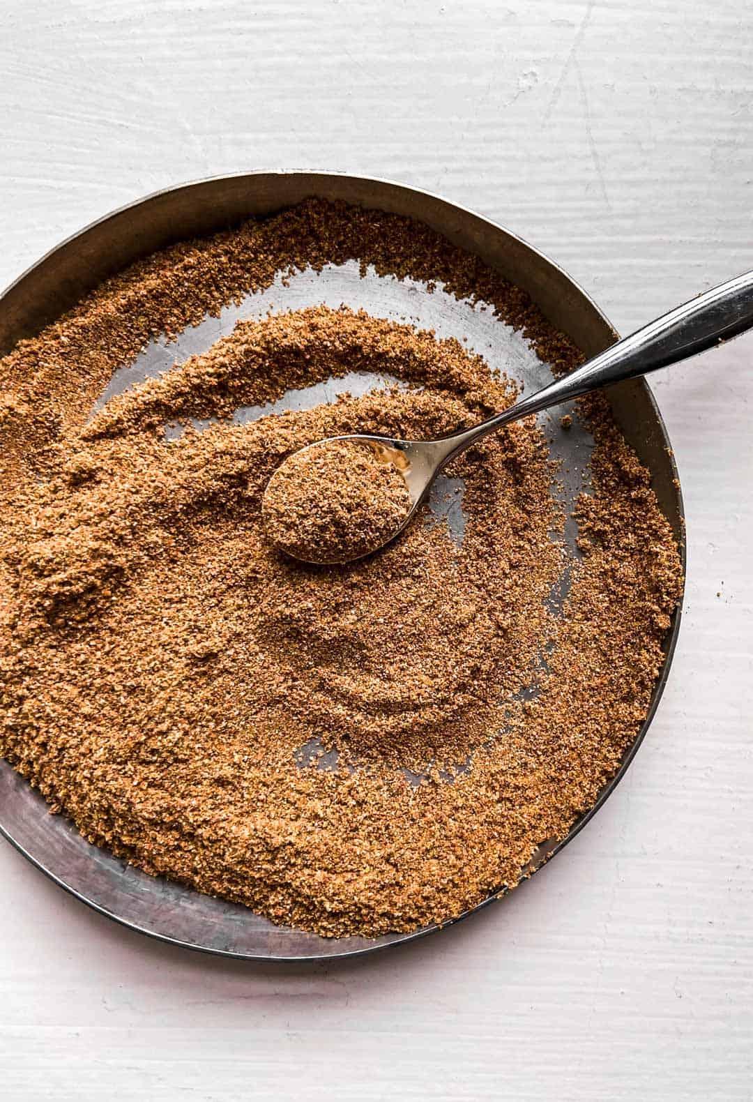 fajita seasoning on a metal plate