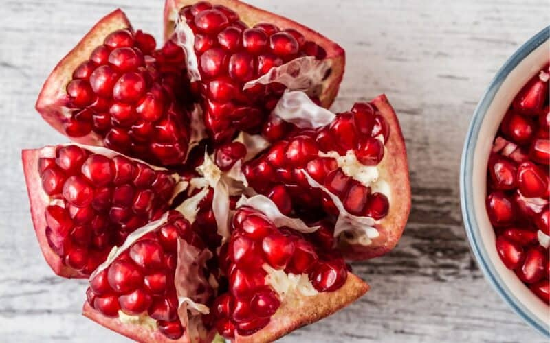 how to peel a pomegranate - pomegranate cut into section