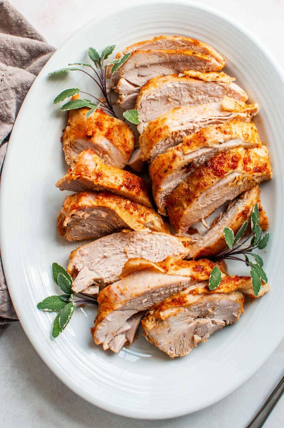 slow cooker turkey breast on a platter