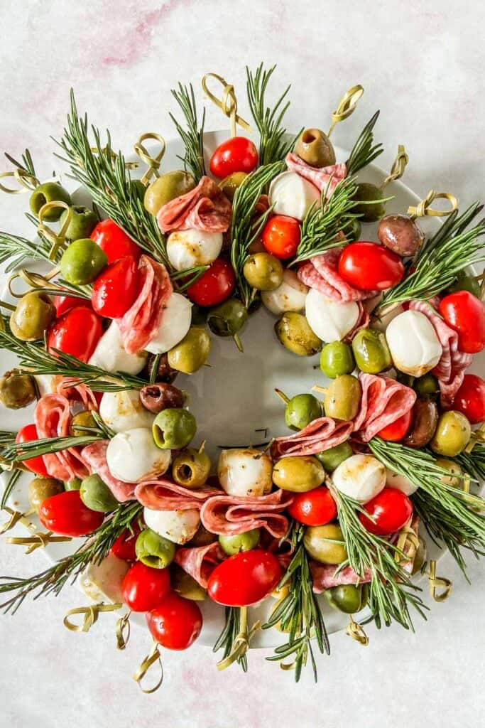 antipasto wreath closeup shot