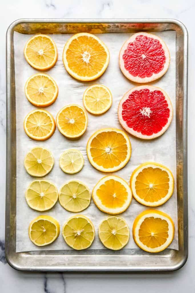 citrus slices before baking