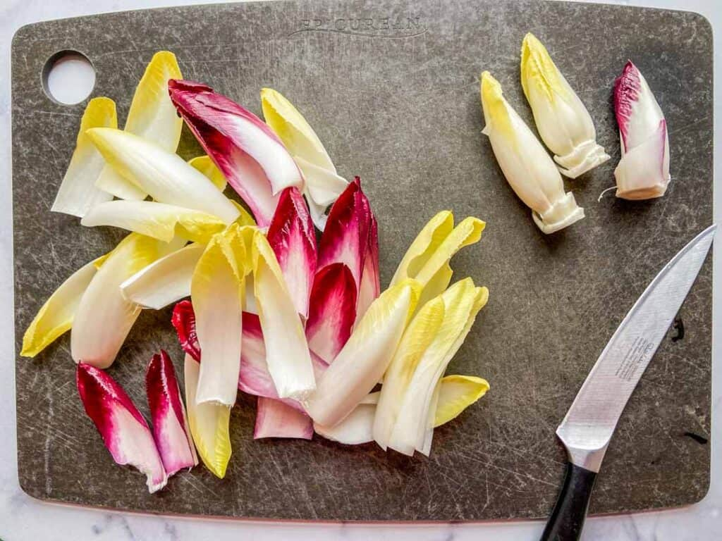 endive leaves on a cutting board