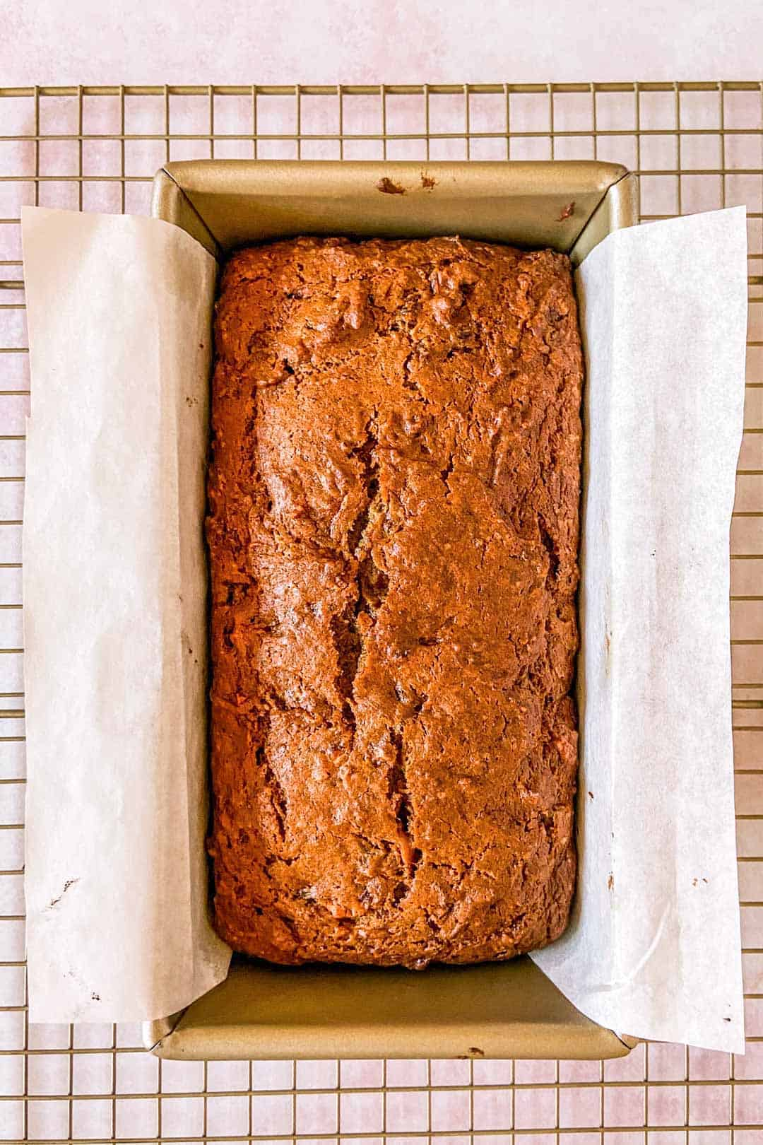 persimmon bread in a pan