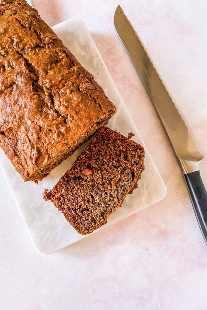 persimmon bread on a cutting board