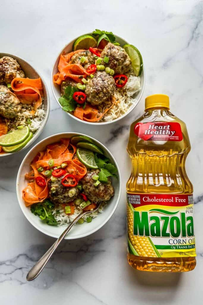 green curry meatballs served with rice