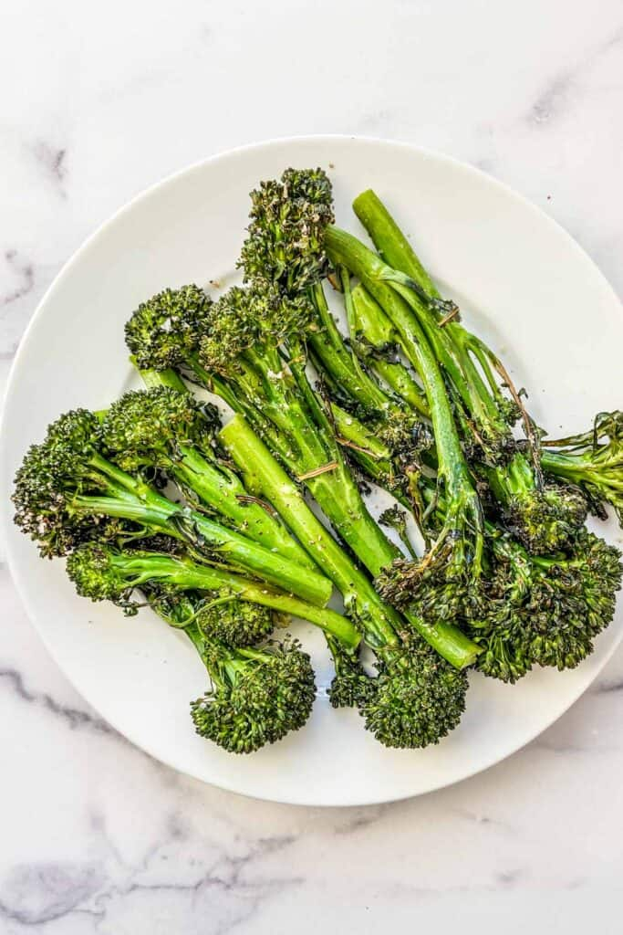 roasted broccolini on a plate