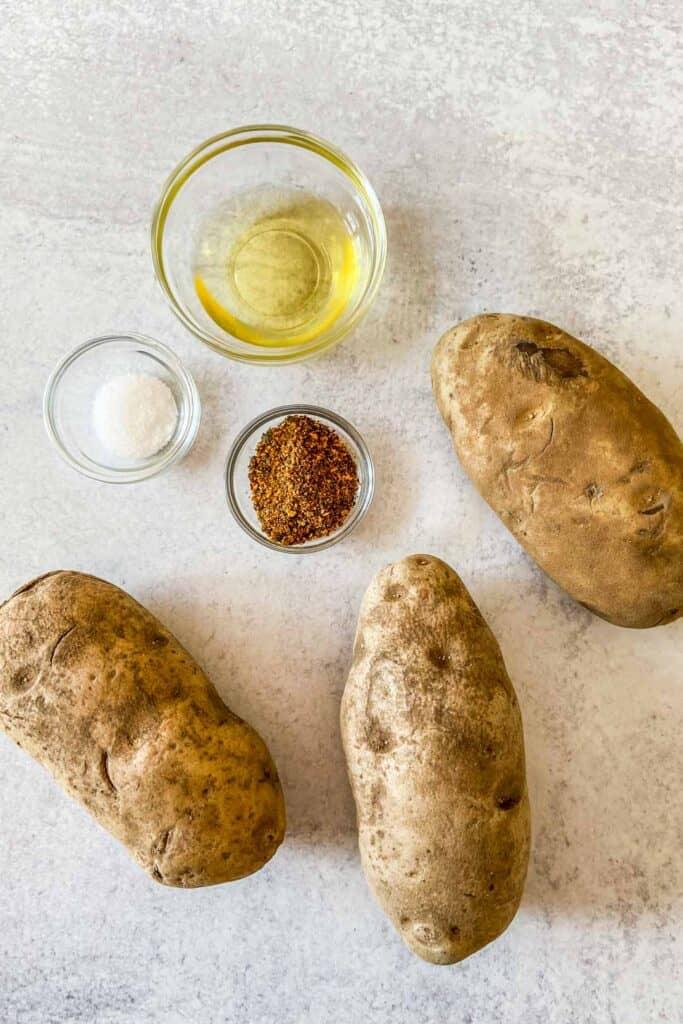 Togarashi fries ingredients - potatoes, oil, salt, and togarashi seasoning.