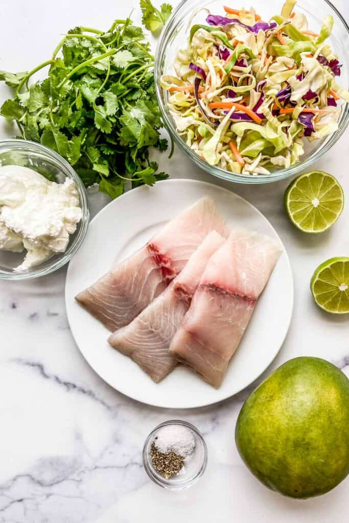 Ingredients for barramundi and mango slaw recipe.
