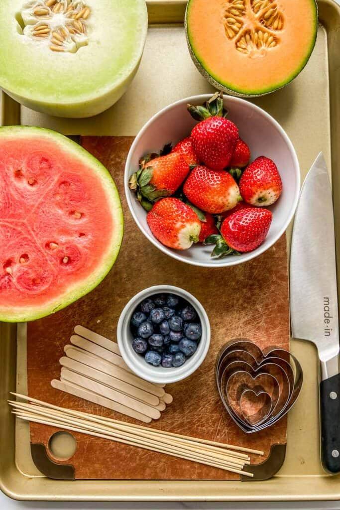 Ingredients for fruit skewers.