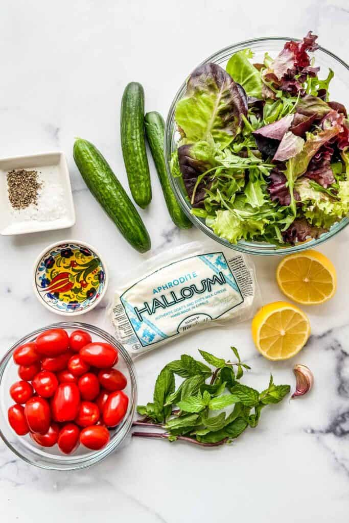 Grilled halloumi salad ingredients.