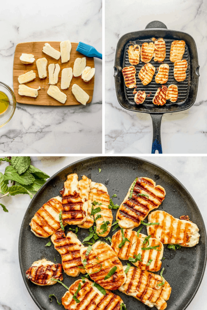 Chopped halloumi on a cutting board, halloumi in a grill pan, and grilled halloumi pieces on a black plate.