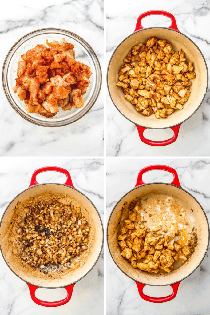 A composite photo with four pictures of making chicken curry.