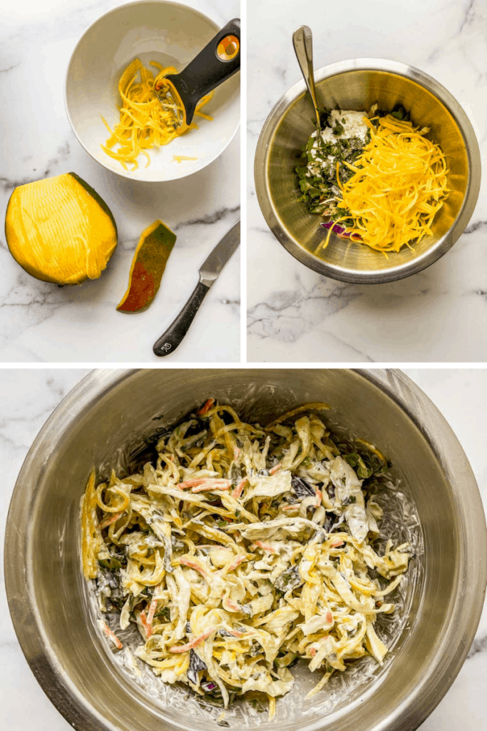 Graphic showing three pictures of how to make mango slaw for fish.