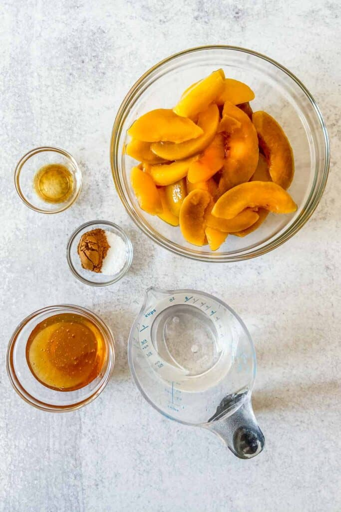 Ingredients for peach compote.