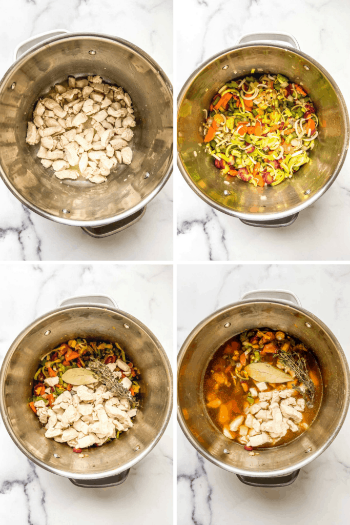 Four pictures of a how to make lemon chicken soup.