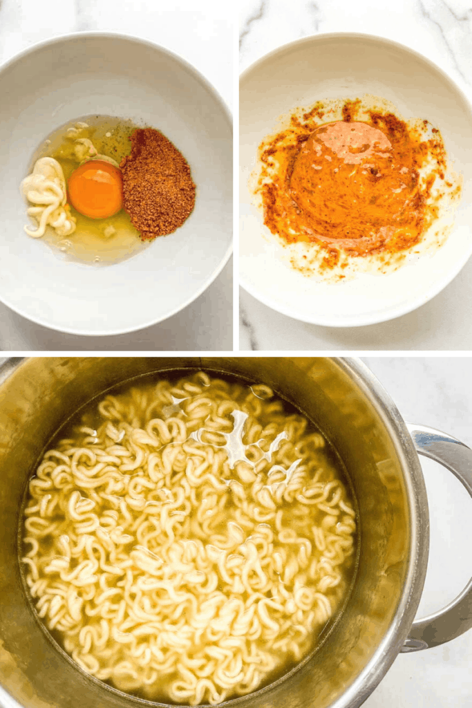 Various stages of ramen preparation.