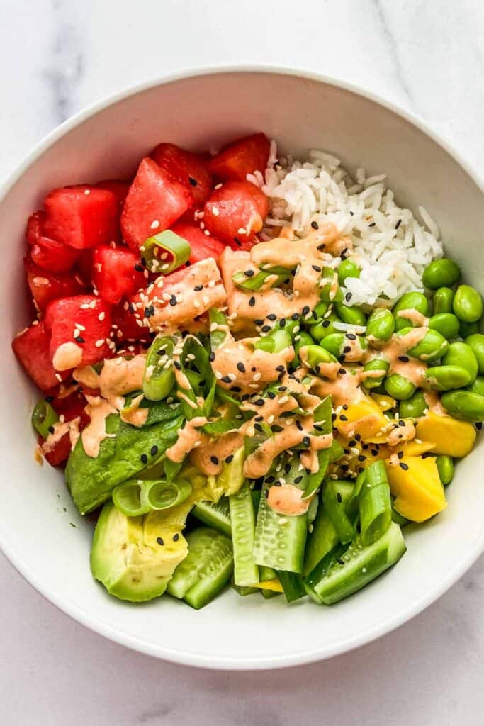 A closeup shot of a bowl of watermelon poke.