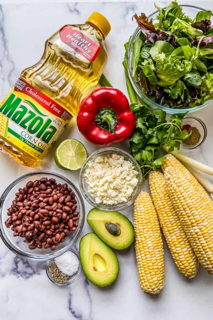 Ingredients for a grilled corn salad.