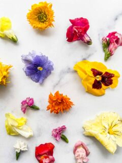 An assortment of edible flowers on a marble background.