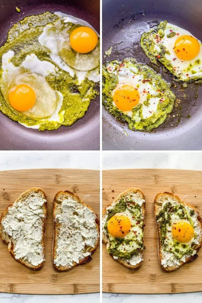 Four shots of pesto eggs being prepared.